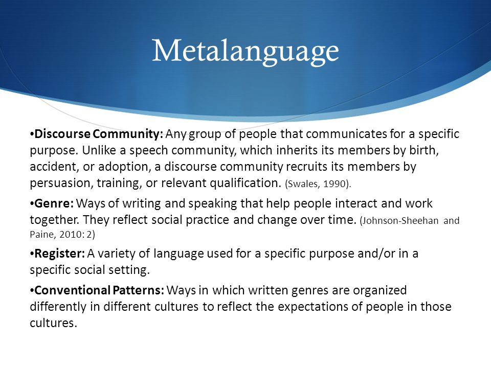Metalanguage Discourse Community: Any group of people that communicates for a specific purpose.