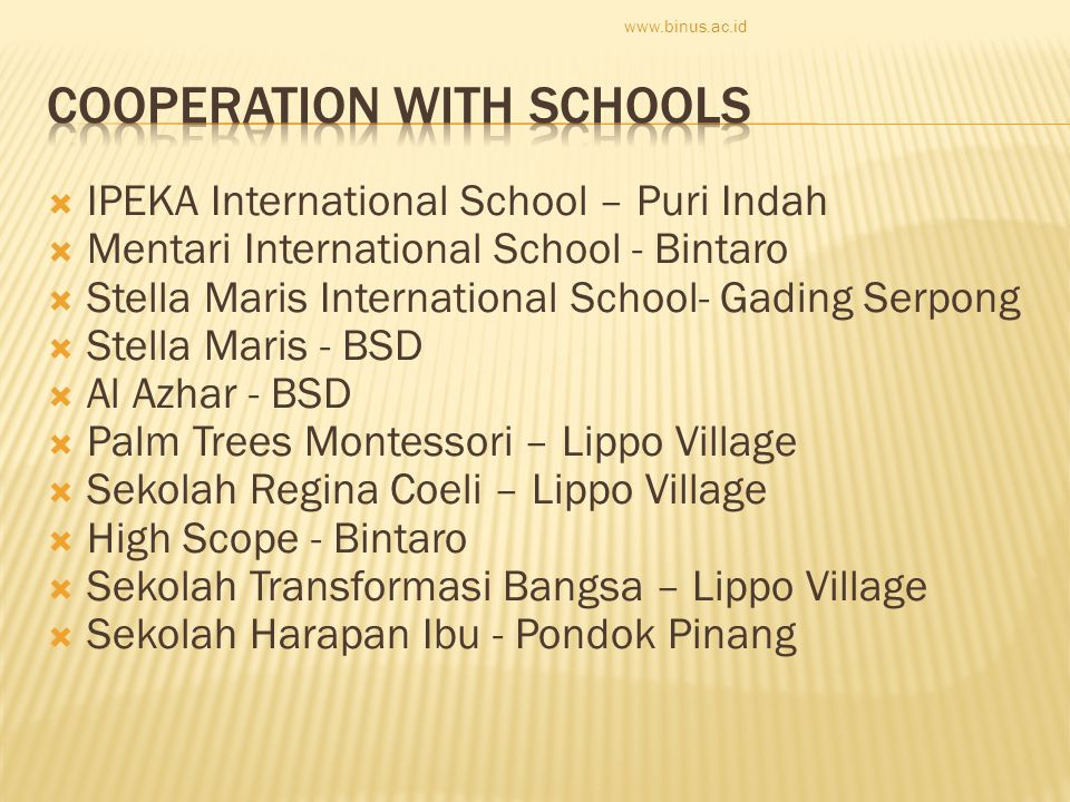  IPEKA International School – Puri Indah  Mentari International School - Bintaro  Stella Maris International School- Gading Serpong  Stella Maris - BSD  Al Azhar - BSD  Palm Trees Montessori – Lippo Village  Sekolah Regina Coeli – Lippo Village  High Scope - Bintaro  Sekolah Transformasi Bangsa – Lippo Village  Sekolah Harapan Ibu - Pondok Pinang