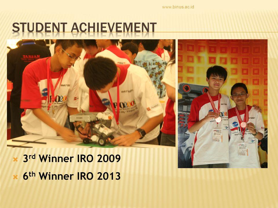  3 rd Winner IRO 2009  6 th Winner IRO 2013 www.binus.ac.id