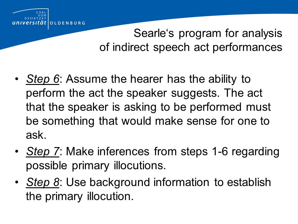 Searle's program for analysis of indirect speech act performances Step 6: Assume the hearer has the ability to perform the act the speaker suggests.