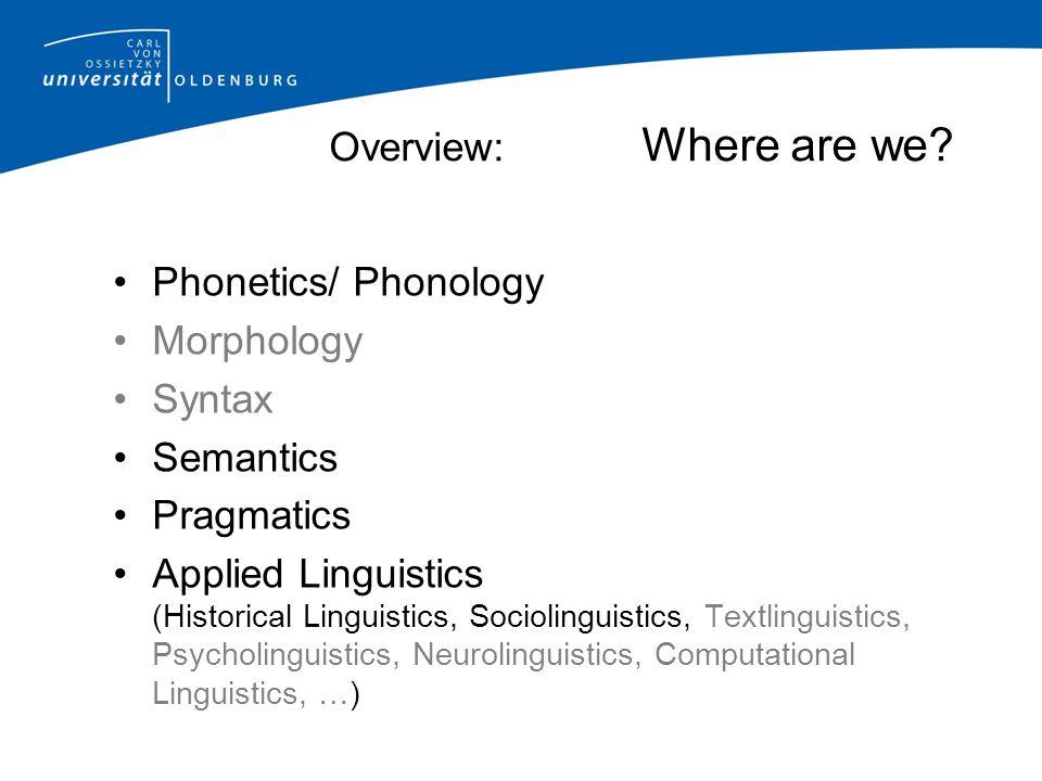 Overview: Where are we? Phonetics/ Phonology Morphology Syntax Semantics Pragmatics Applied Linguistics (Historical Linguistics, Sociolinguistics, Tex