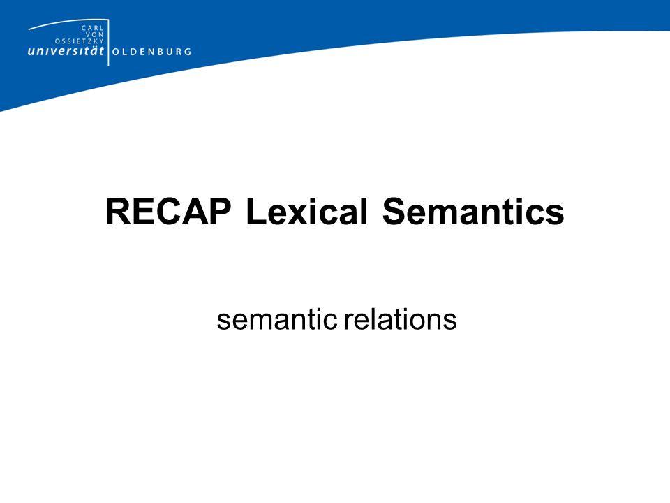 RECAP Lexical Semantics semantic relations