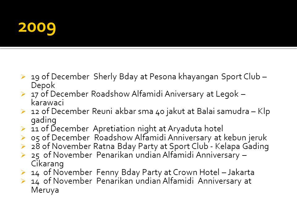  19 of December Sherly Bday at Pesona khayangan Sport Club – Depok  17 of December Roadshow Alfamidi Aniversary at Legok – karawaci  12 of December
