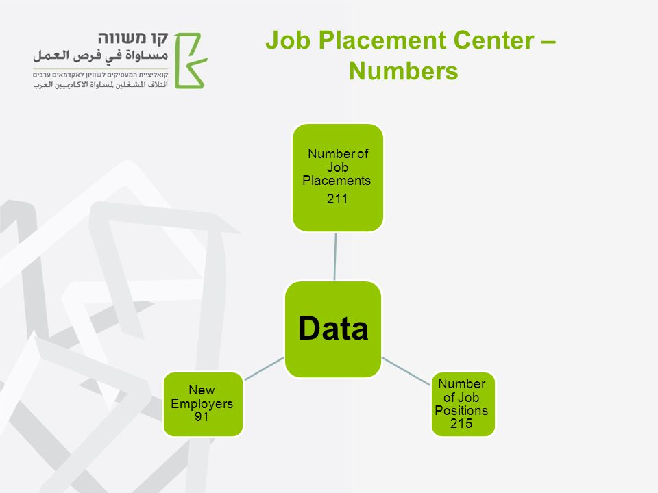 Data Number of Job Placements 211 Number of Job Positions 215 New Employers 91 Job Placement Center – Numbers