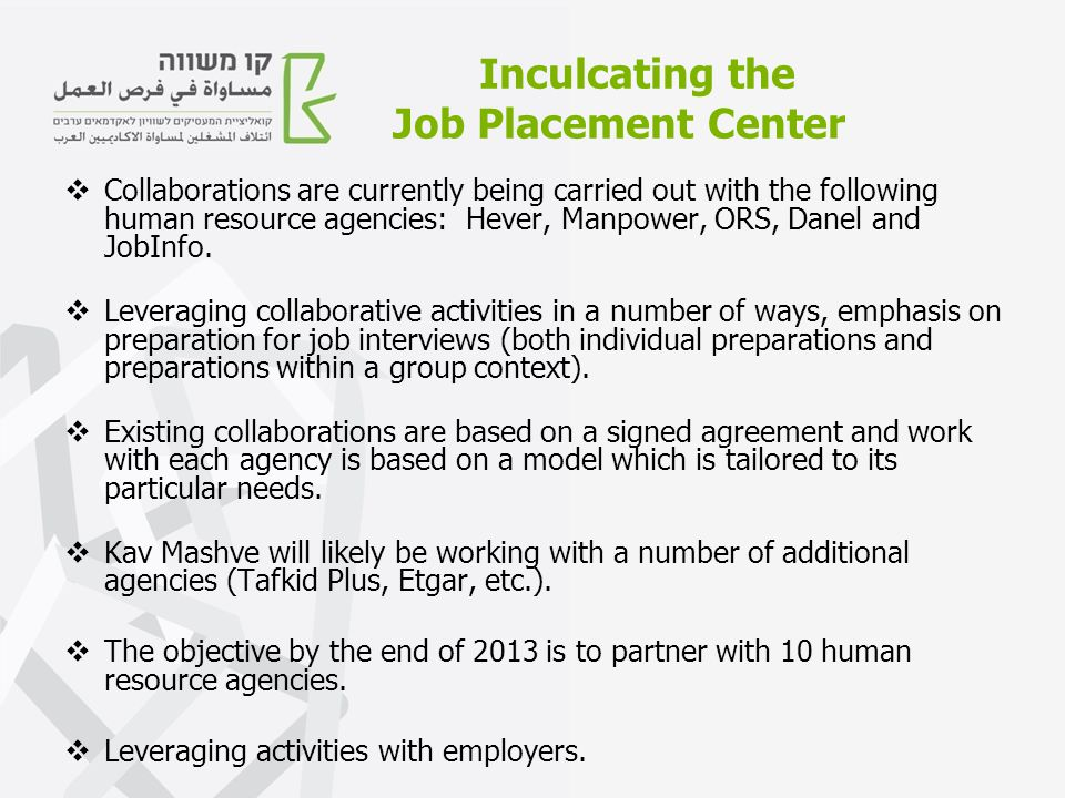 Inculcating the Job Placement Center  Collaborations are currently being carried out with the following human resource agencies: Hever, Manpower, ORS, Danel and JobInfo.