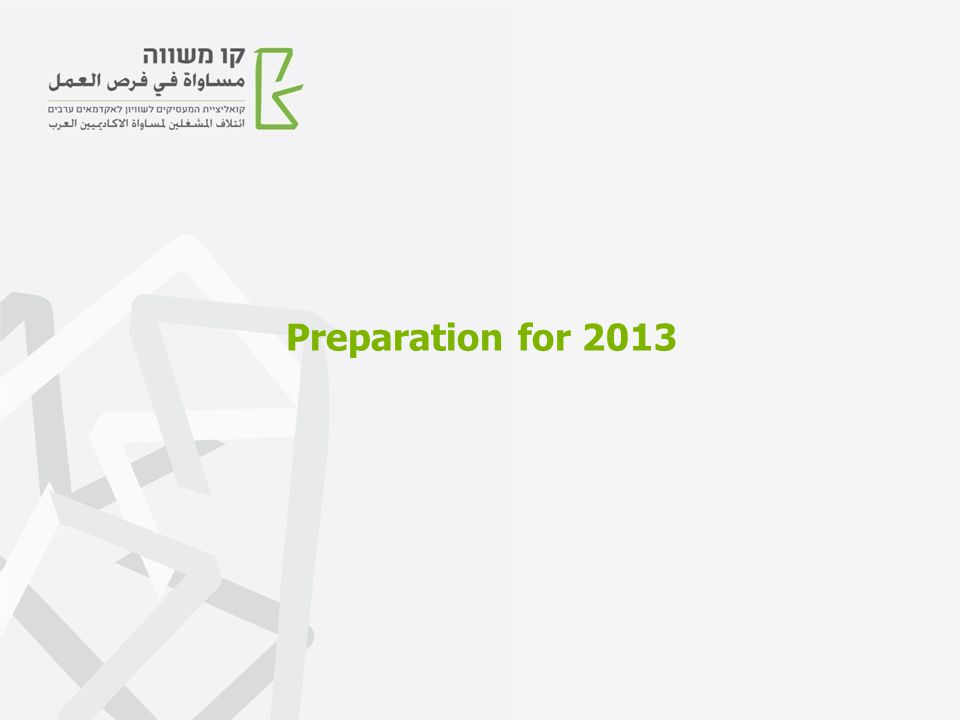 Preparation for 2013