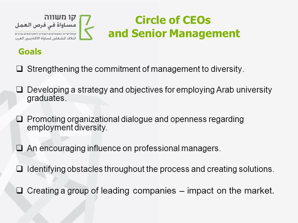 Circle of CEOs and Senior Management  Strengthening the commitment of management to diversity.