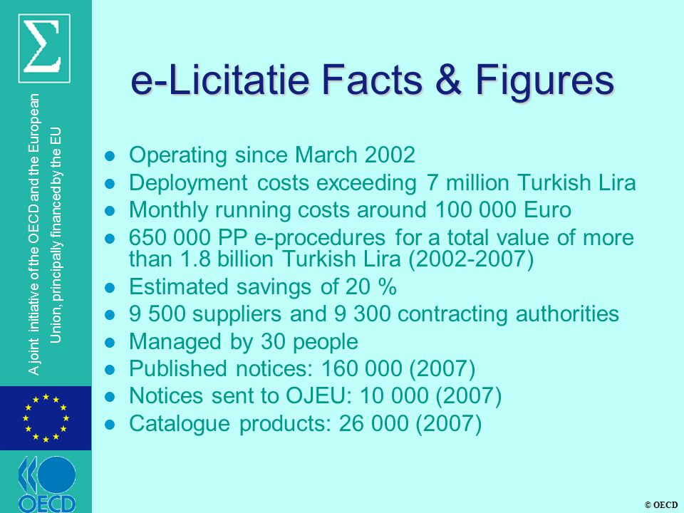 © OECD A joint initiative of the OECD and the European Union, principally financed by the EU e-Licitatie Facts & Figures l Operating since March 2002 l Deployment costs exceeding 7 million Turkish Lira l Monthly running costs around 100 000 Euro l 650 000 PP e-procedures for a total value of more than 1.8 billion Turkish Lira (2002-2007) l Estimated savings of 20 % l 9 500 suppliers and 9 300 contracting authorities l Managed by 30 people l Published notices: 160 000 (2007) l Notices sent to OJEU: 10 000 (2007) l Catalogue products: 26 000 (2007)