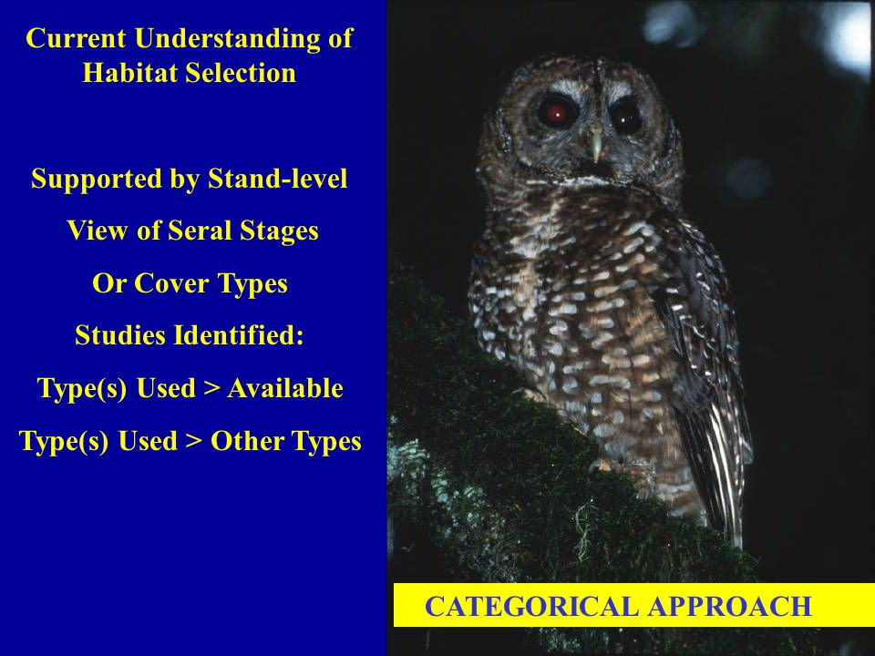 CATEGORICAL APPROACH Current Understanding of Habitat Selection Supported by Stand-level View of Seral Stages Or Cover Types Studies Identified: Type(s) Used > Available Type(s) Used > Other Types