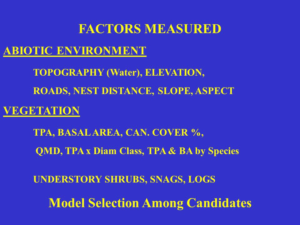 FACTORS MEASURED ABIOTIC ENVIRONMENT TOPOGRAPHY (Water), ELEVATION, ROADS, NEST DISTANCE, SLOPE, ASPECT VEGETATION TPA, BASAL AREA, CAN.