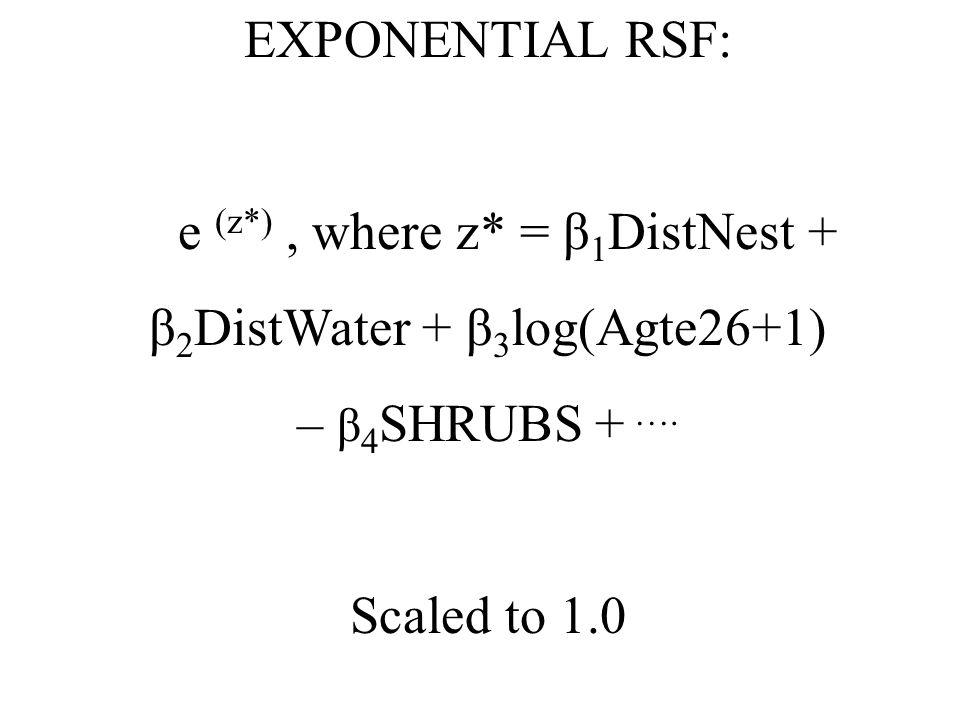 EXPONENTIAL RSF: e (z*), where z* = β 1 DistNest + β 2 DistWater + β 3 log(Agte26+1) – β 4 SHRUBS + ….