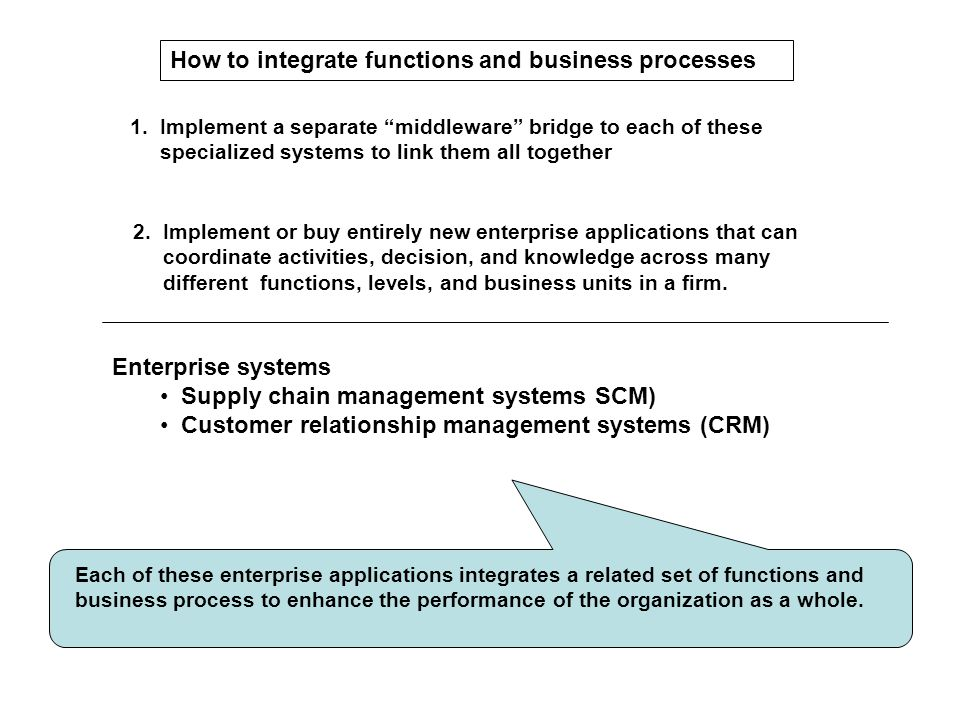"""1. Implement a separate """"middleware"""" bridge to each of these specialized systems to link them all together 2. Implement or buy entirely new enterprise"""