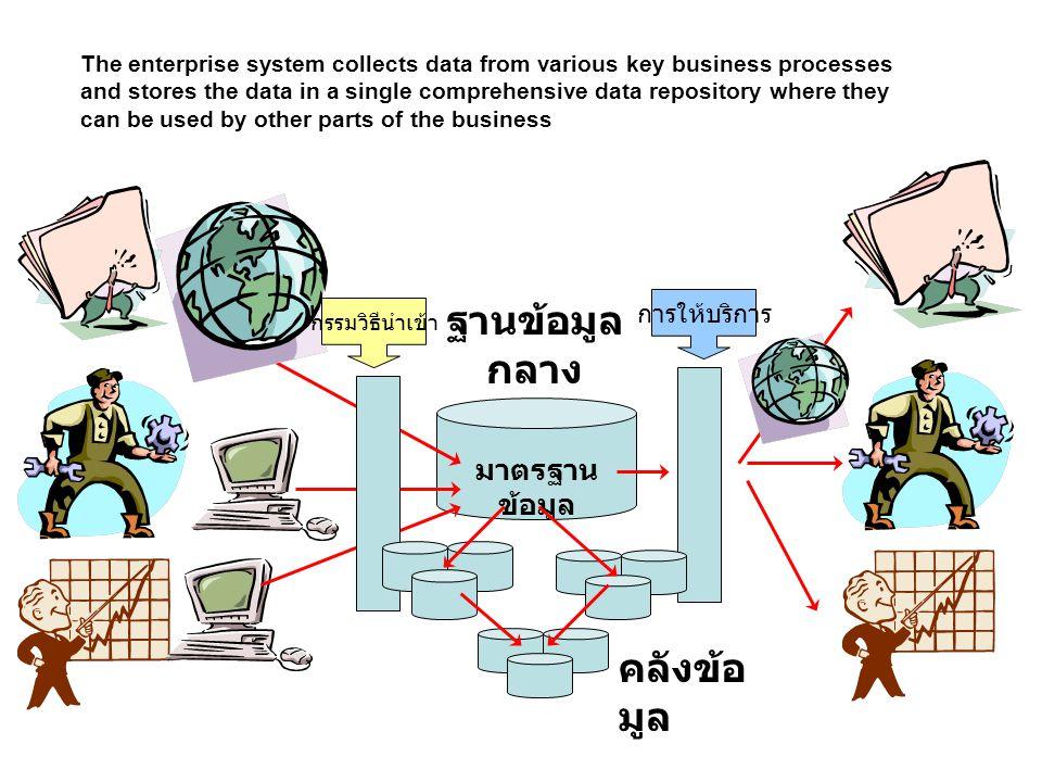 ฐานข้อมูล กลาง มาตรฐาน ข้อมูล คลังข้อ มูล กรรมวิธีนำเข้า การให้บริการ The enterprise system collects data from various key business processes and stor