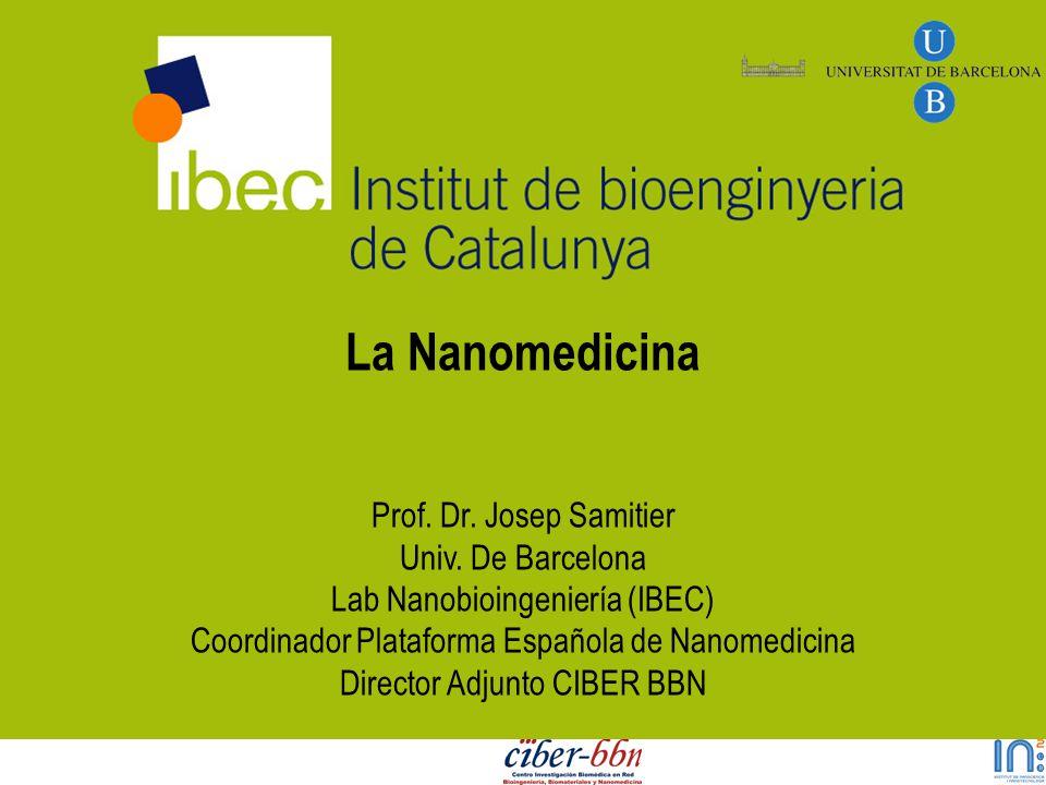 La Nanomedicina Prof. Dr. Josep Samitier Univ. De Barcelona Lab Nanobioingeniería (IBEC) Coordinador Plataforma Española de Nanomedicina Director Adju
