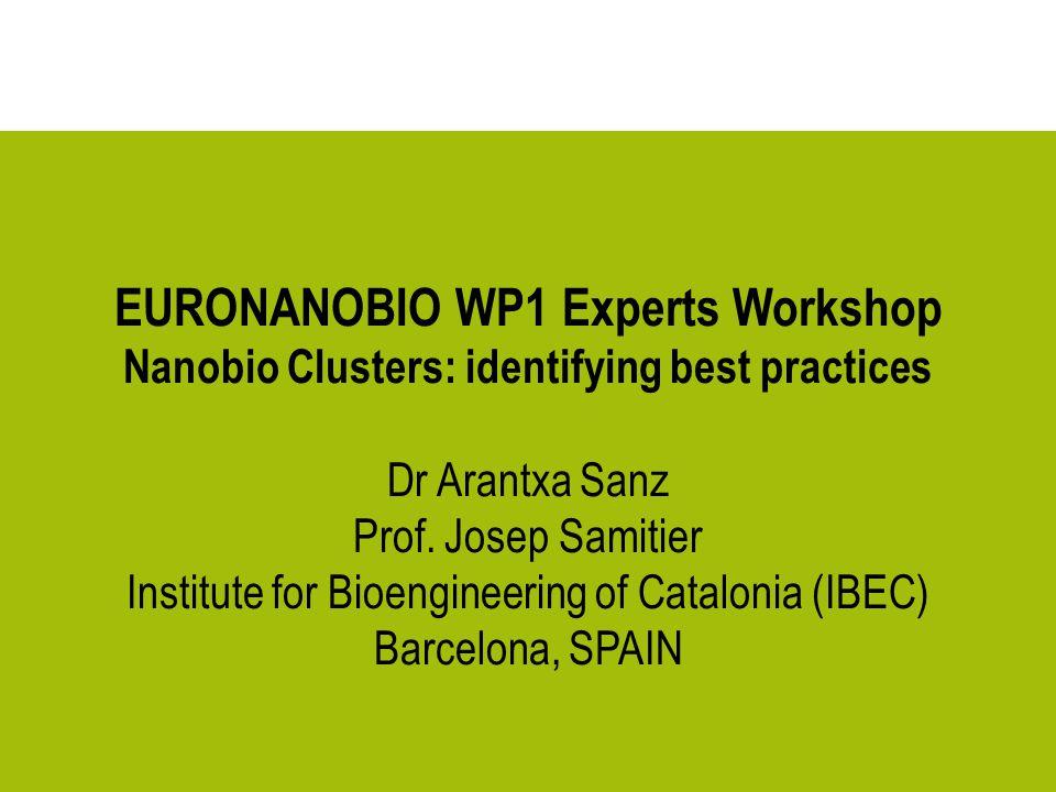 EURONANOBIO WP1 Experts Workshop Nanobio Clusters: identifying best practices Dr Arantxa Sanz Prof. Josep Samitier Institute for Bioengineering of Cat