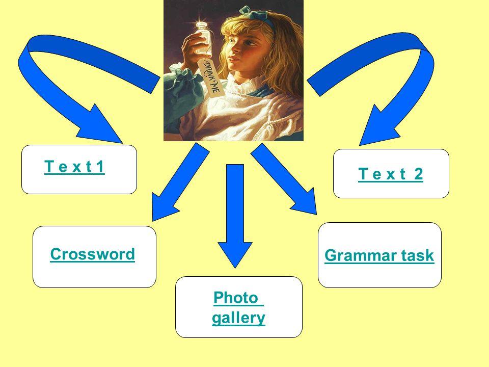 Grammar task T e x t 2 Crossword T e x t 1 Photo gallery
