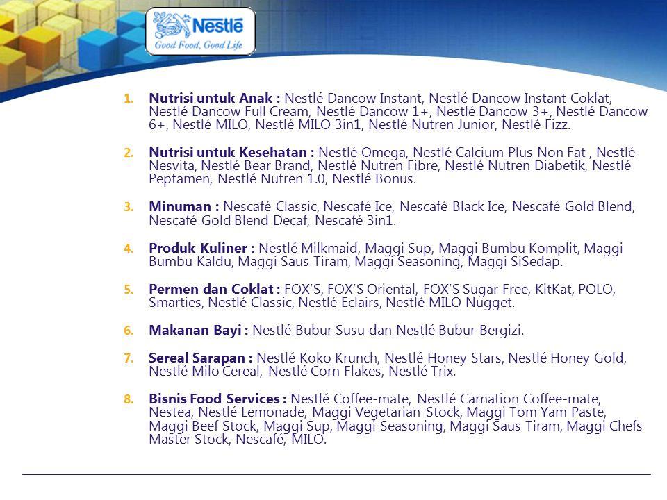 1. Nutrisi untuk Anak : Nestlé Dancow Instant, Nestlé Dancow Instant Coklat, Nestlé Dancow Full Cream, Nestlé Dancow 1+, Nestlé Dancow 3+, Nestlé Danc