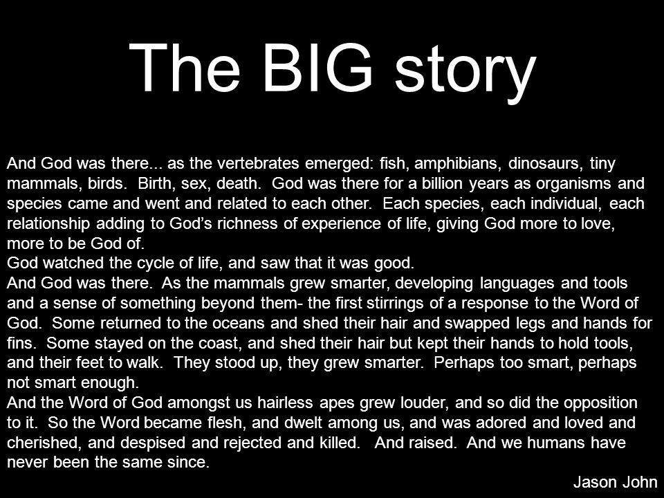 The BIG story And God was there... as the vertebrates emerged: fish, amphibians, dinosaurs, tiny mammals, birds. Birth, sex, death. God was there for