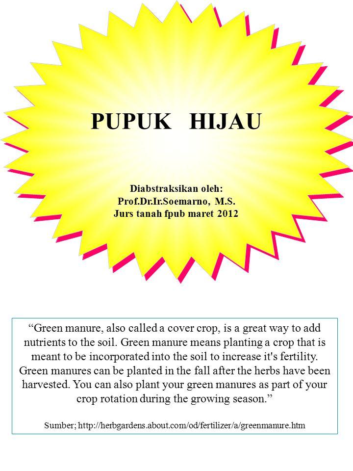 PUPUK HIJAU PADA TANAMAN TEBU Trash composting: when trash is kept on the fields as mulch, evaporation of moisture is greatly reduced.