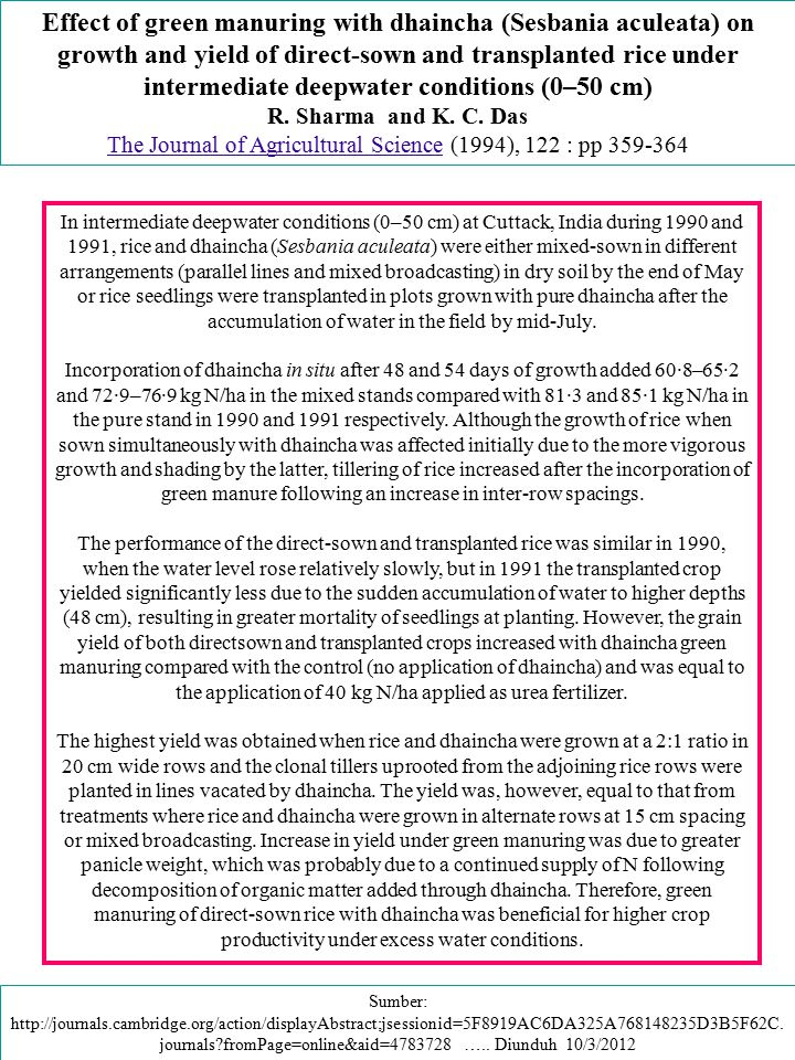 Effect of green manuring with dhaincha (Sesbania aculeata) on growth and yield of direct-sown and transplanted rice under intermediate deepwater condi