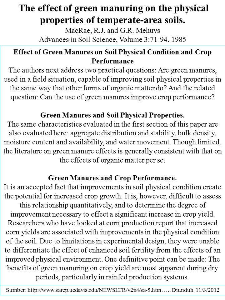 Effect of Green Manures on Soil Physical Condition and Crop Performance The authors next address two practical questions: Are green manures, used in a