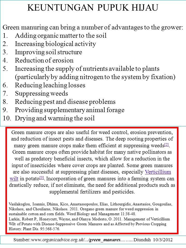 KEUNTUNGAN PUPUK HIJAU Green manuring can bring a number of advantages to the grower: 1.Adding organic matter to the soil 2.Increasing biological acti