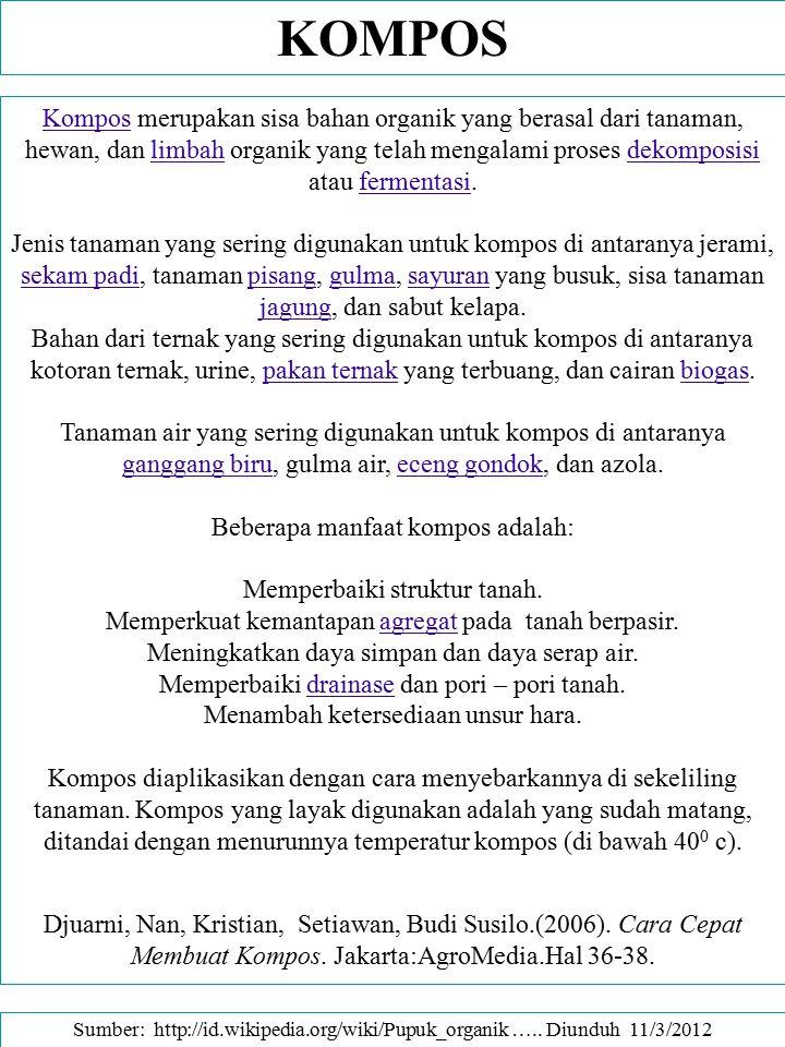 PUPUK HIJAU (MAPORINA.COM -- Written by beta Monday, 09 August 2004.