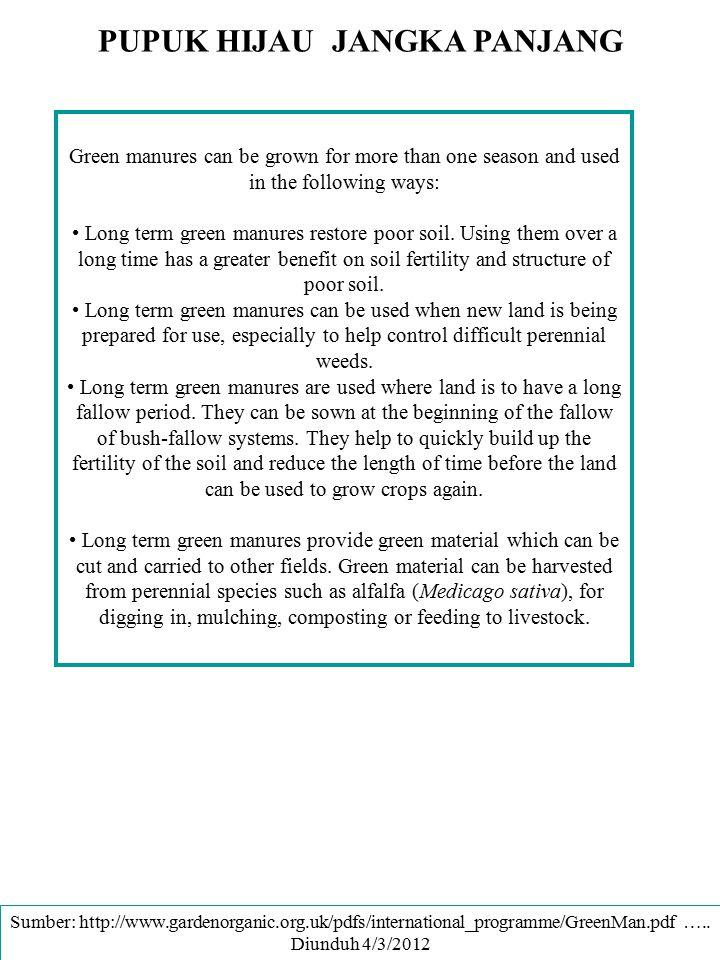 PUPUK HIJAU JANGKA PANJANG Green manures can be grown for more than one season and used in the following ways: Long term green manures restore poor so