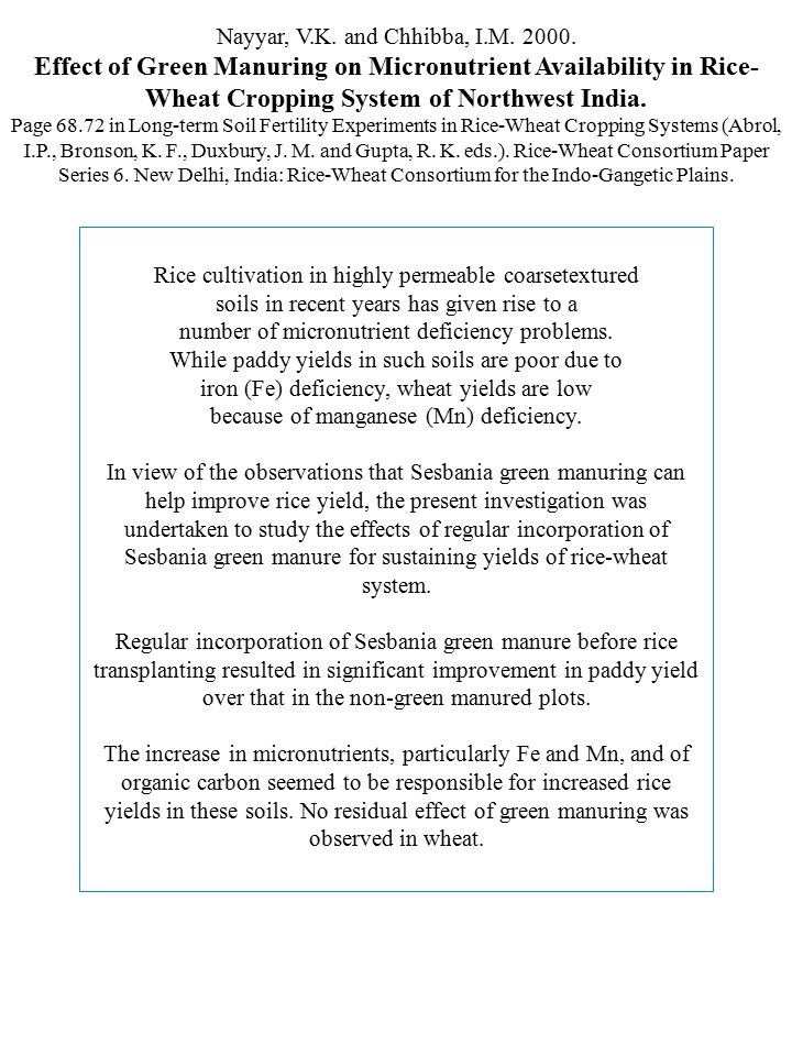 Nayyar, V.K. and Chhibba, I.M. 2000. Effect of Green Manuring on Micronutrient Availability in Rice- Wheat Cropping System of Northwest India. Page 68