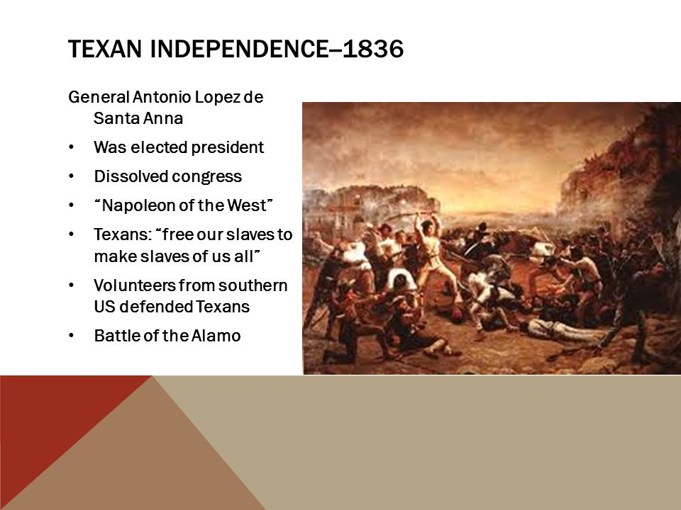 "General Antonio Lopez de Santa Anna Was elected president Dissolved congress ""Napoleon of the West"" Texans: ""free our slaves to make slaves of us all"""