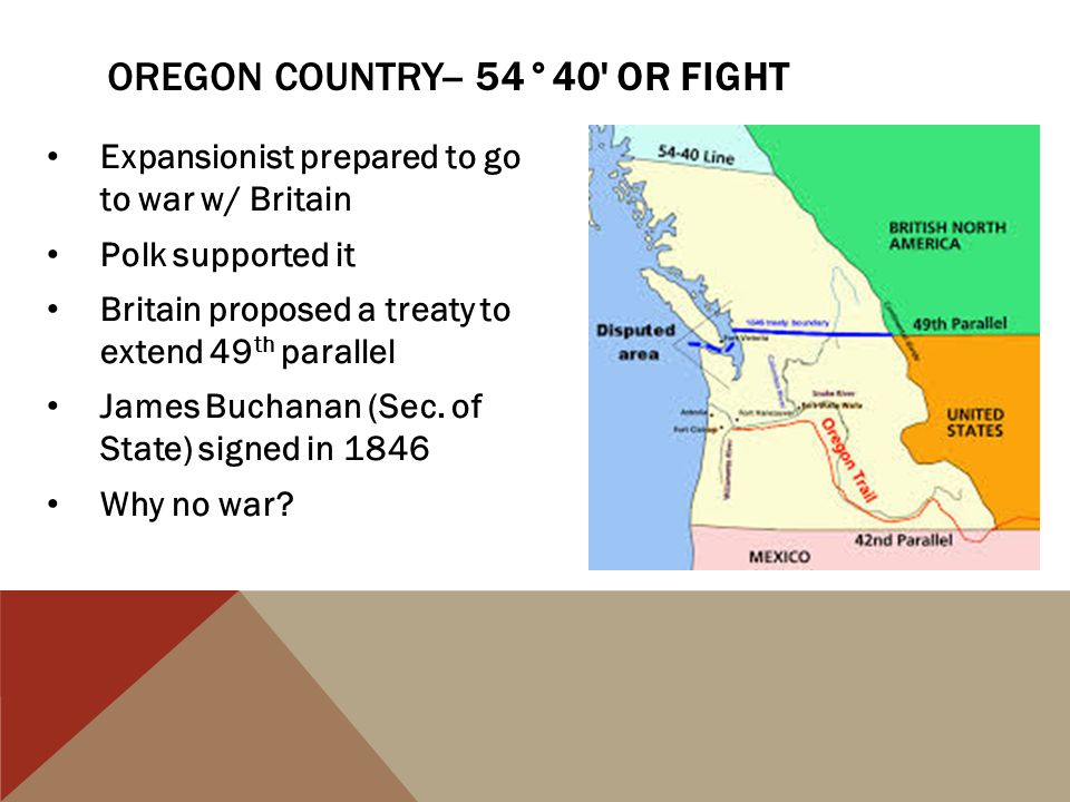 Expansionist prepared to go to war w/ Britain Polk supported it Britain proposed a treaty to extend 49 th parallel James Buchanan (Sec. of State) sign