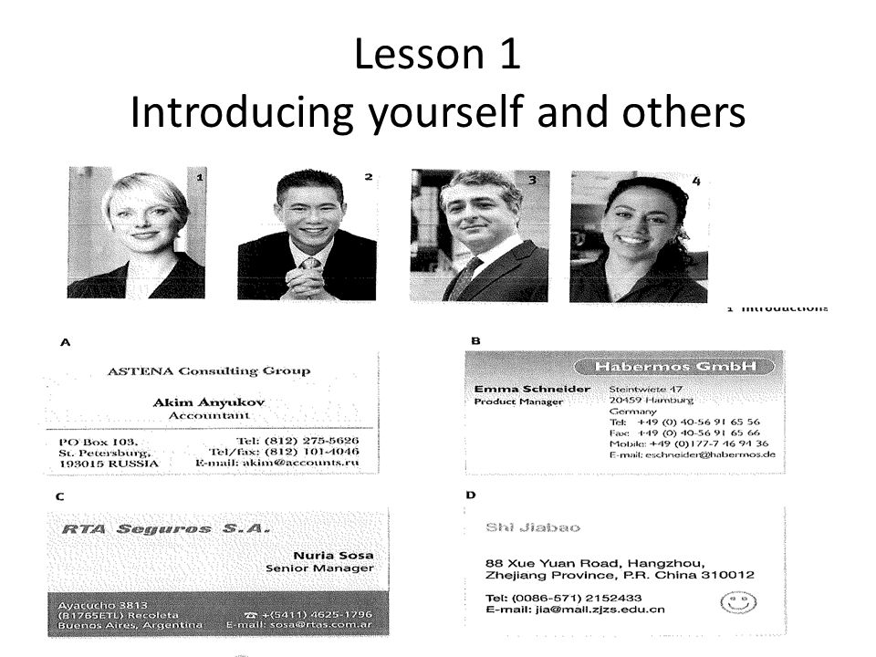 Lesson 1 Introducing yourself and others