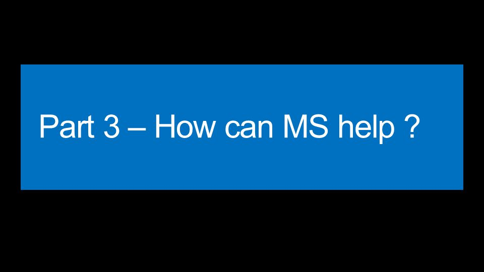 Part 3 – How can MS help