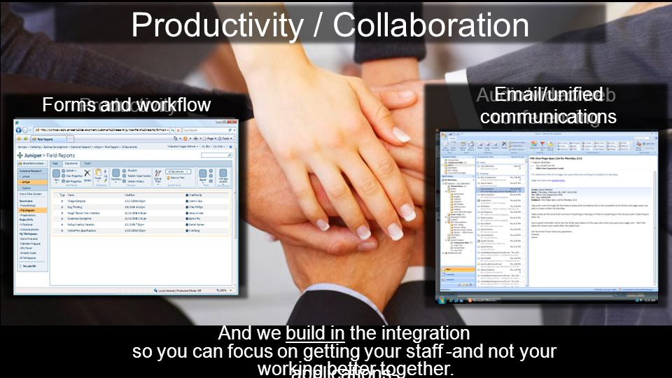 Productivity / Collaboration And we build in the integration so you can focus on getting your staff -and not your applications- Productivity Audio/video/web conferencing Forms and workflow  /unified communications working better together.