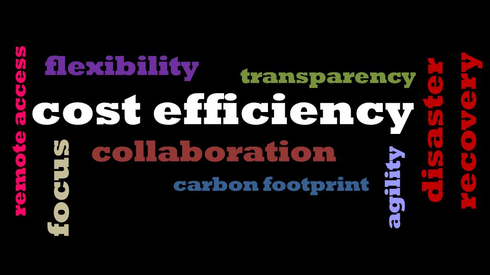 collaboration focus flexibility transparency agility carbon footprint disaster recovery remote access
