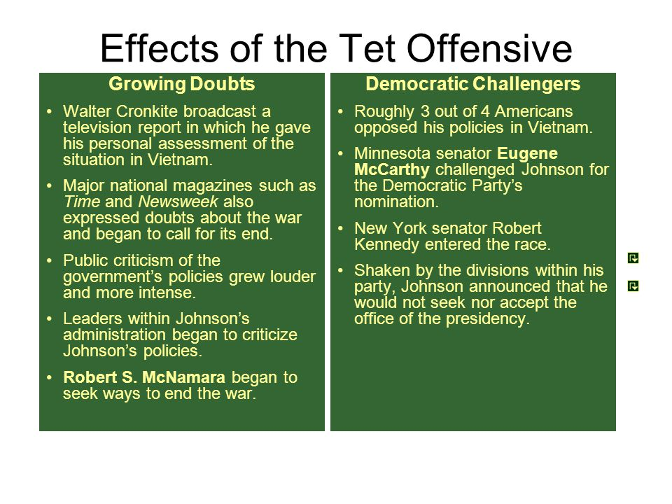 Effects of the Tet Offensive General Westmoreland called the Tet Offensive a decisive defeat for the Communists.