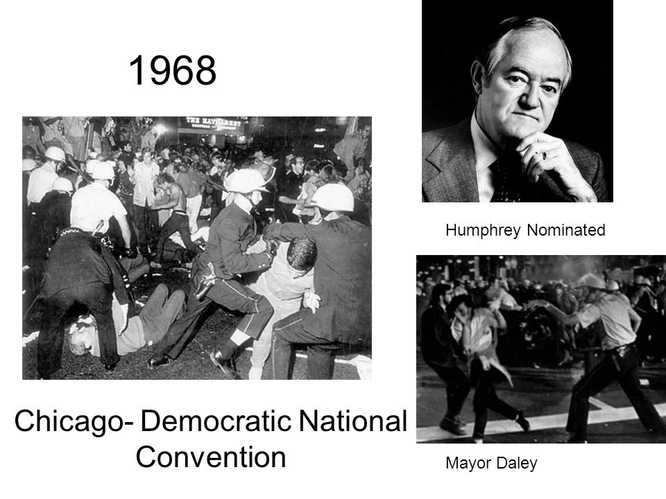 The Democratic Convention Delegates at the Democratic National Convention in Chicago debated between McCarthy and Humphrey. Outside the convention, pr