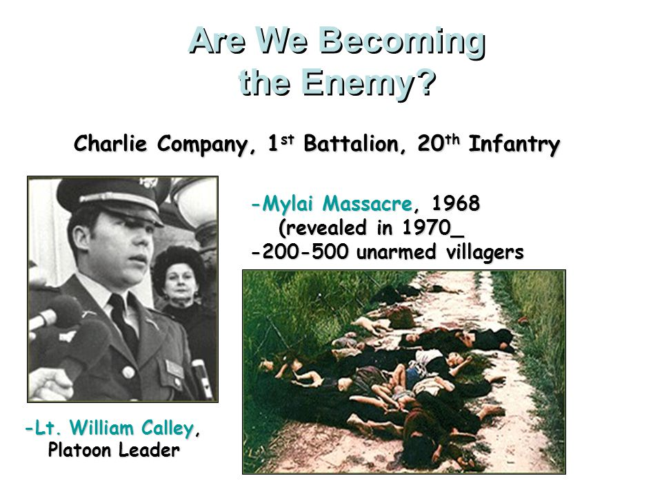 Increasing Protests My Lai Massacre Troops under Lieutenant William Calley killed at least 450 men, women, and children in the village of My Lai while on a search-and- destroy mission.