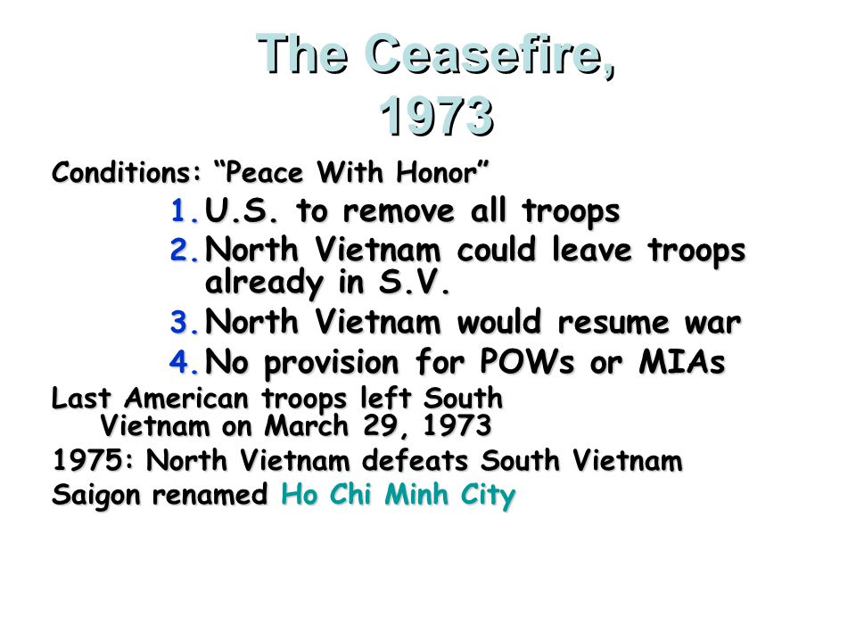 A Peace Agreement Nixon tried to force North Vietnam to make peace concessions by ordering the so-called Christmas bombing.