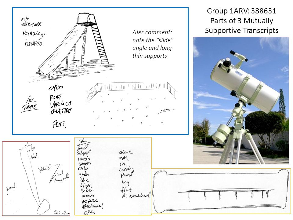 "Group 1ARV: 388631 Parts of 3 Mutually Supportive Transcripts AJer comment: note the ""slide"" angle and long thin supports"