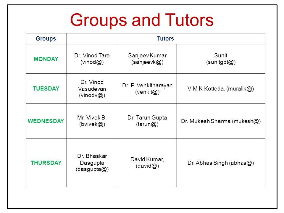 Groups and Tutors GroupsTutors MONDAY Dr. Vinod Tare (vinod@) Sanjeev Kumar (sanjeevk@) Sunit (sunitgpt@) TUESDAY Dr. Vinod Vasudevan (vinodv@) Dr. P.