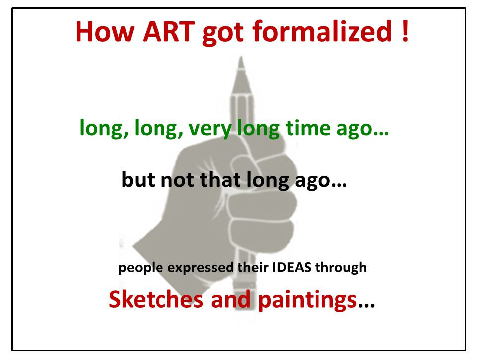 long, long, very long time ago… but not that long ago… people expressed their IDEAS through Sketches and paintings… How ART got formalized !