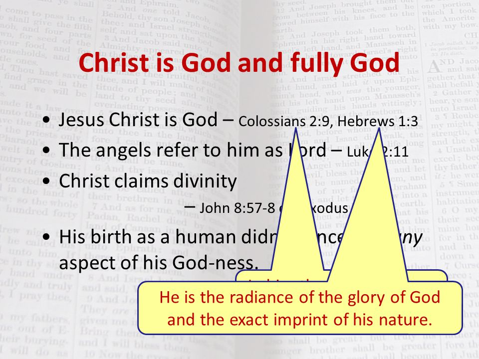 Christ is God and fully God Jesus Christ is God – Colossians 2:9, Hebrews 1:3 The angels refer to him as Lord – Luke 2:11 Christ claims divinity – Joh