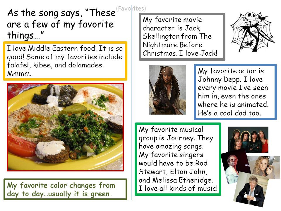 """(Favorites) As the song says, """"These are a few of my favorite things…"""" I love Middle Eastern food. It is so good! Some of my favorites include falafel"""