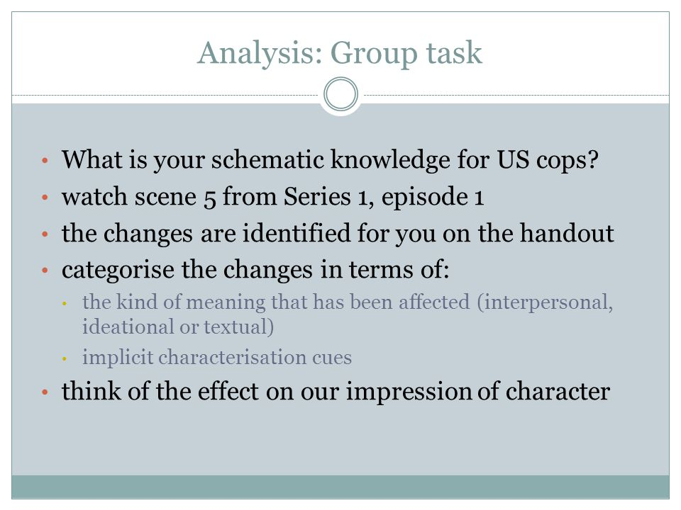 Analysis: Group task What is your schematic knowledge for US cops? watch scene 5 from Series 1, episode 1 the changes are identified for you on the ha