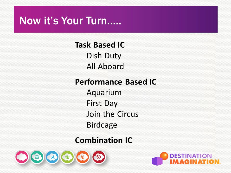 Now it's Your Turn….. Task Based IC Dish Duty All Aboard Performance Based IC Aquarium First Day Join the Circus Birdcage Combination IC