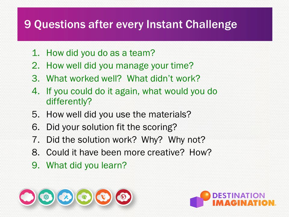 1.How did you do as a team? 2.How well did you manage your time? 3.What worked well? What didn't work? 4.If you could do it again, what would you do d