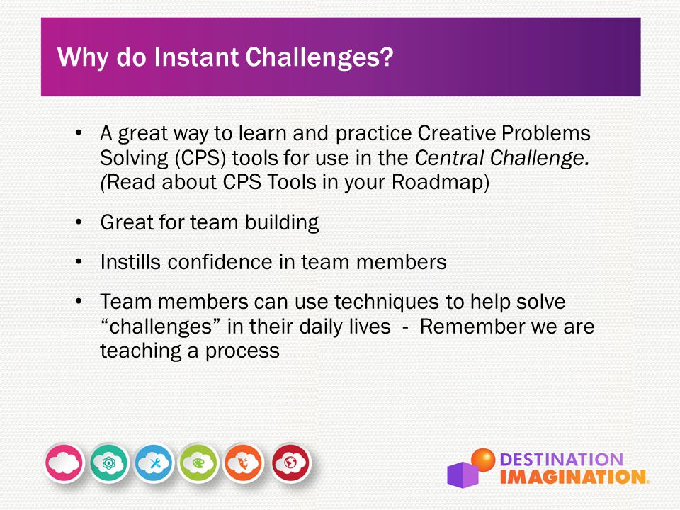 A great way to learn and practice Creative Problems Solving (CPS) tools for use in the Central Challenge.