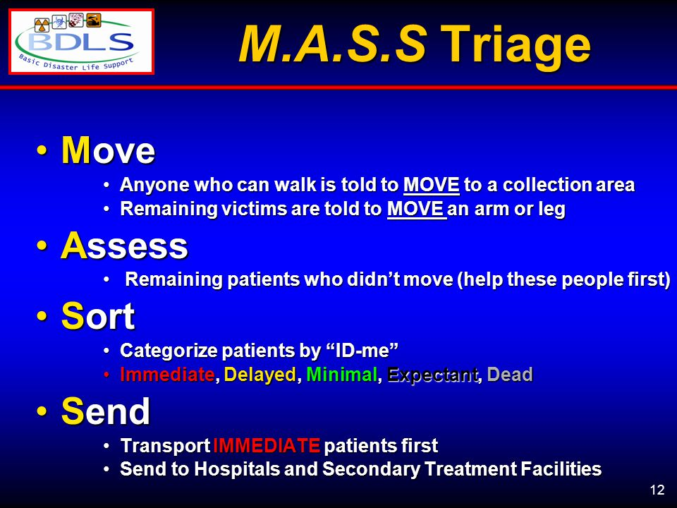 12 M.A.S.S Triage MoveMove Anyone who can walk is told to MOVE to a collection areaAnyone who can walk is told to MOVE to a collection area Remaining victims are told to MOVE an arm or legRemaining victims are told to MOVE an arm or leg AssessAssess Remaining patients who didn't move (help these people first) Remaining patients who didn't move (help these people first) SortSort Categorize patients by ID-me Categorize patients by ID-me Immediate, Delayed, Minimal, Expectant, DeadImmediate, Delayed, Minimal, Expectant, Dead SendSend Transport IMMEDIATE patients firstTransport IMMEDIATE patients first Send to Hospitals and Secondary Treatment FacilitiesSend to Hospitals and Secondary Treatment Facilities