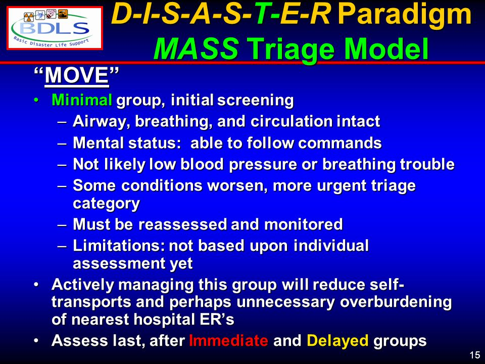 15 D-I-S-A-S-T-E-R Paradigm MASS Triage Model MOVE Minimal group, initial screeningMinimal group, initial screening –Airway, breathing, and circulation intact –Mental status: able to follow commands –Not likely low blood pressure or breathing trouble –Some conditions worsen, more urgent triage category –Must be reassessed and monitored –Limitations: not based upon individual assessment yet Actively managing this group will reduce self- transports and perhaps unnecessary overburdening of nearest hospital ER'sActively managing this group will reduce self- transports and perhaps unnecessary overburdening of nearest hospital ER's Assess last, after Immediate and Delayed groupsAssess last, after Immediate and Delayed groups